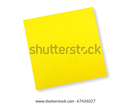 Yellow note on white background
