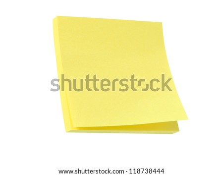 Yellow note pad isolated on white