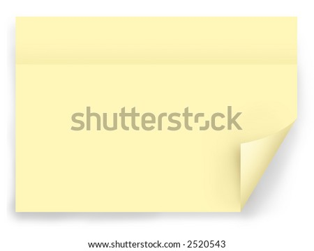 Yellow note pad, post it paper square