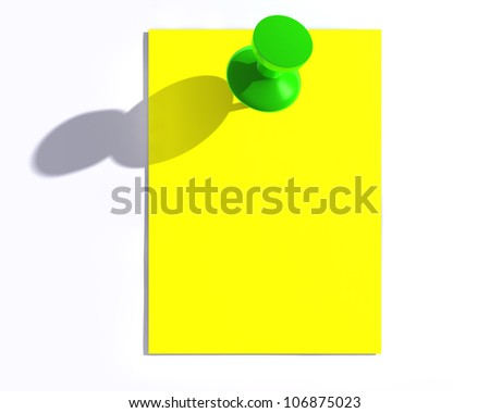 Yellow note paper and a glossy push pin with shadow.