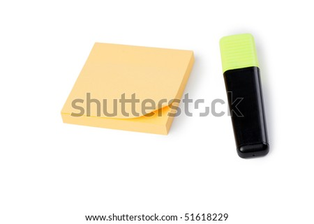 yellow note paper and pen on white background