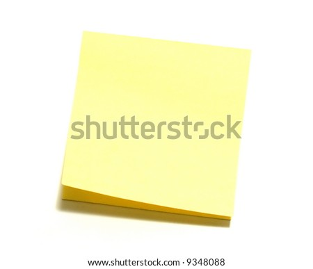 Yellow note paper on a on a white background