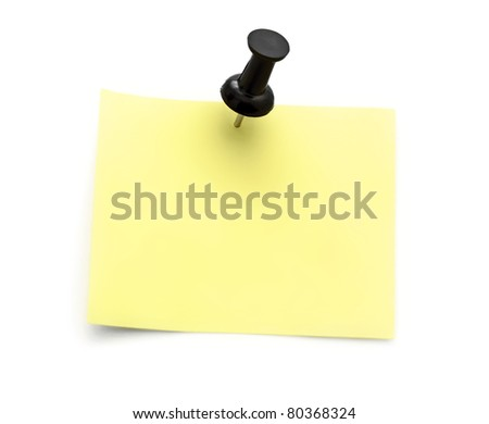 yellow note with black pin isolated on white background