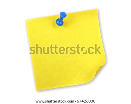 Yellow note with pin on white background