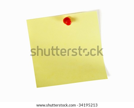 yellow note with red pin over white background