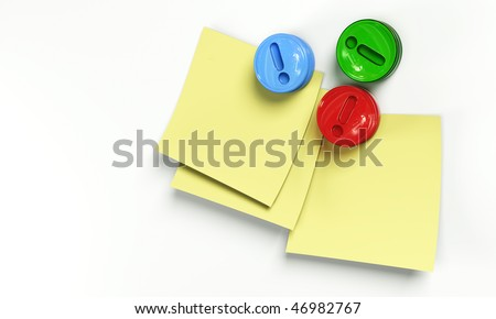Yellow notes with colorful magnets 3d model