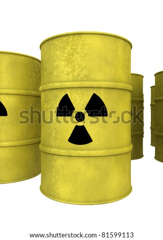 yellow nuclear waste barrels isolated on white