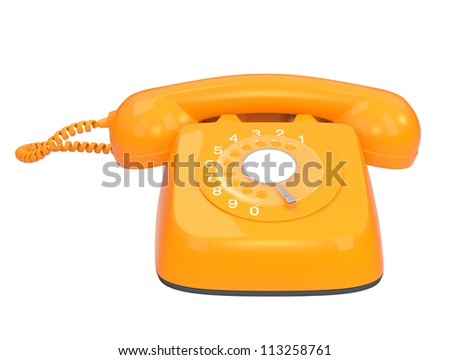 yellow office phone in classic style(front view) - stock photo