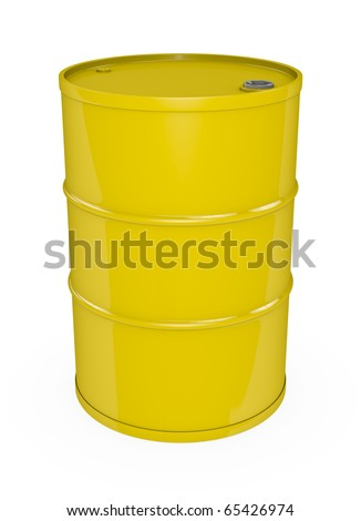 Yellow oil barrel. High quality 3D rendered image.