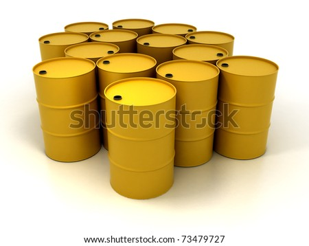 Yellow Oil Barrels Isolated on White