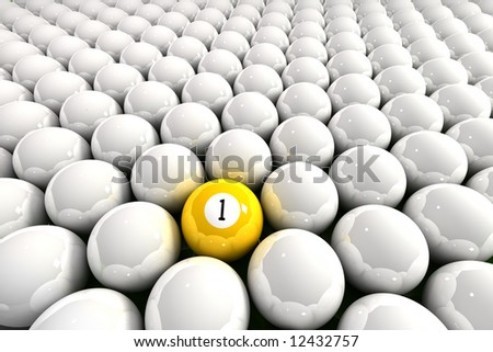 Yellow one ball surrounded by white billiard balls