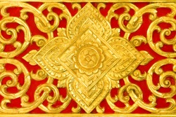 Yellow or gold Thai traditional style in temple Thailand on red background