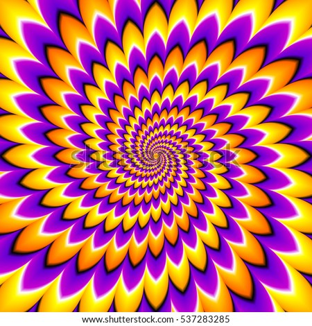 Yellow, orange and purple spirals. Optical expansion illusion.