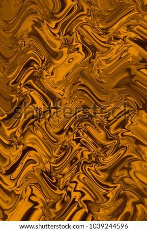 Yellow orange creative abstract digital background of wavy lines. Illustration #1039244596