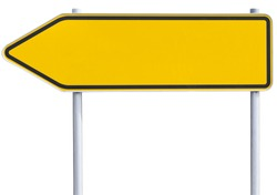 yellow/orange road sign . Arrow to the left. with clipping path