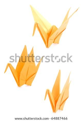 Yellow Origami Crane on a white background