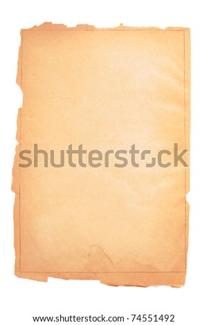 Yellow page of the old book on white background