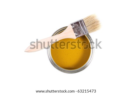 yellow paint can with brush isolated on white background