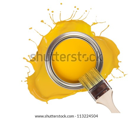 Yellow paint splashed out from can, isolated on white background