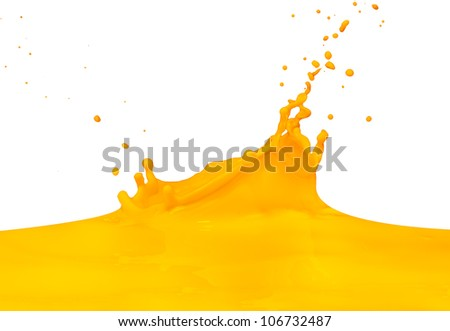 yellow paint splashing isolated on white