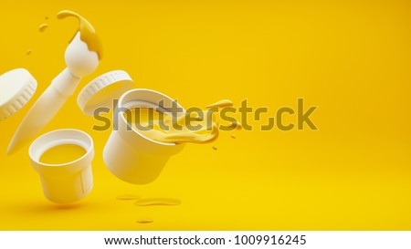 Yellow paint with splashes pouring out of white bucket and brush with falling drops. Raster, 3d rendered illustration.