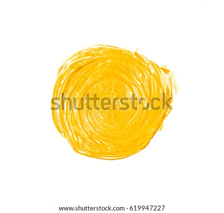 Yellow painted circle. Design element #619947227