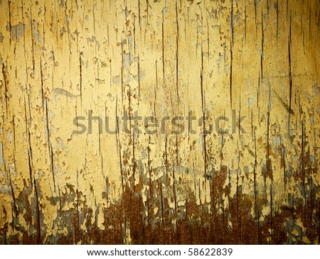 Yellow painted weathered wood texture.