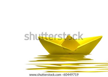 Yellow paper boat on water with white background - stock photo