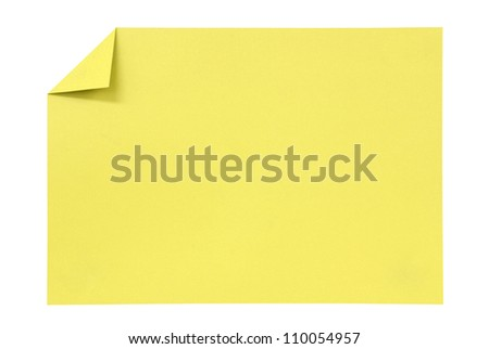Yellow paper isolated on white