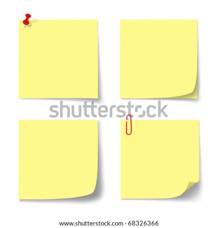 yellow paper note on isolated.