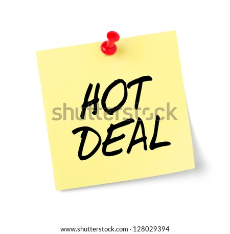 Yellow paper note with text Hot Deal