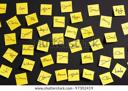 Yellow paper notes with male and female names