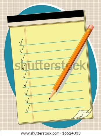 Yellow Paper pad and pencil. Add your own text, list, notes or drawings for home, office and school projects.