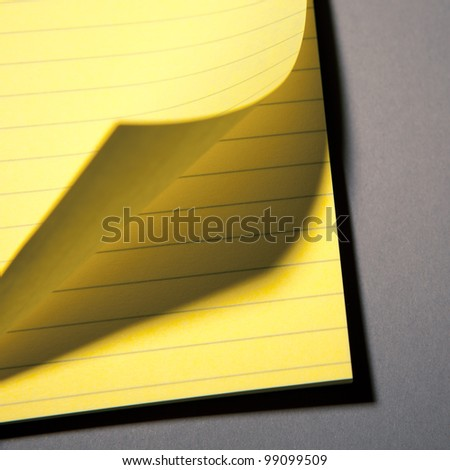 yellow paper page peel