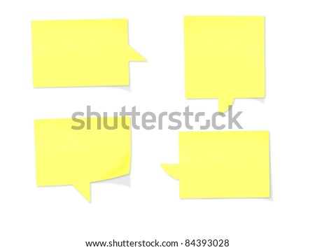 Yellow paper speech bubbles