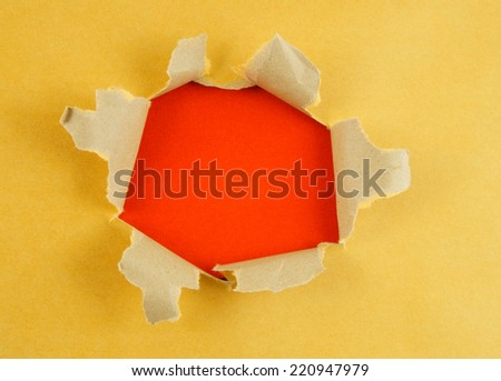 Yellow paper with hole