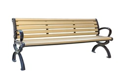 yellow park bench . Isolated over white background with clipping path.