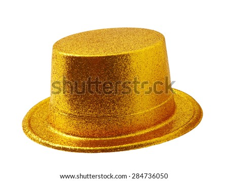 Yellow party hat isolated on the white background