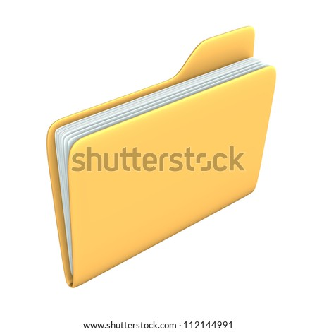Yellow pc folder on the white background.