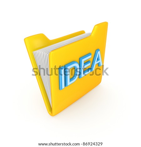 Yellow Pc Folder With A Blue Inscription Idea.Isolated On ...