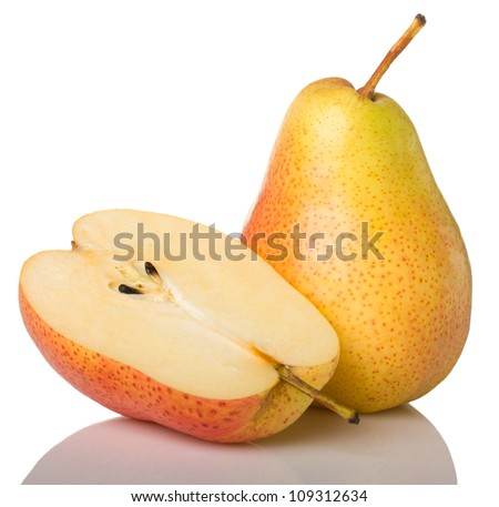 Yellow pear and half isolated on white background