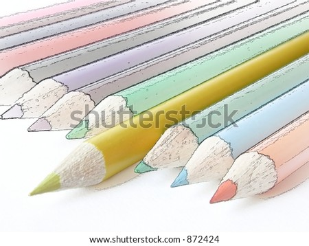 yellow pencil crayon isolated in a photographed state set apart from other pencil crayons in a hand drawn state
