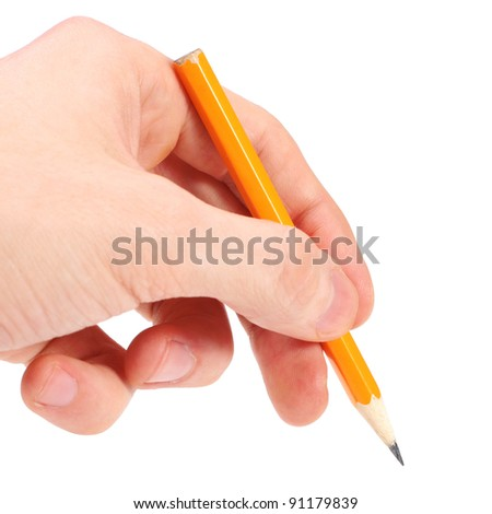 yellow pencil in hand isolated on white background