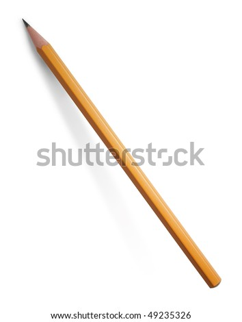 yellow pencil isolated on white background