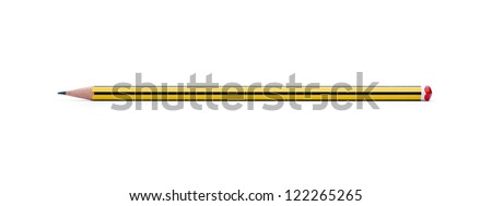 Yellow pencil isolated on white background with clipping path