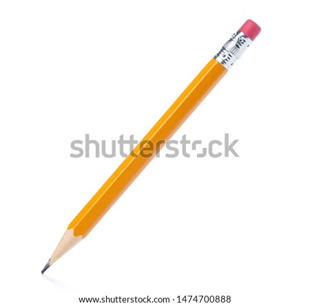 Yellow pencil on isolated white background #1474700888