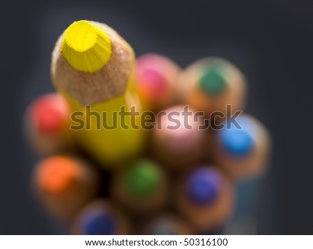 yellow pencil, top view