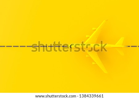 Yellow plane on the runway. top view and yellow background. minimal idea concept, 3D Render.