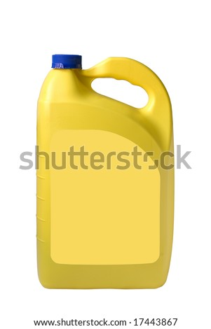 yellow plastic blank oil can, path