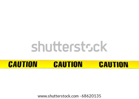 "Yellow plastic ""Caution"" tape isolated on white background, lower third position"